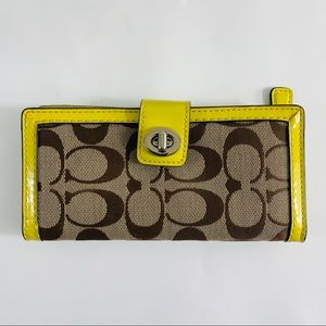 Coach Signature Canvas Patent Lime Green Wallet
